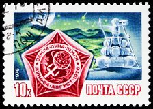 Space Flight to Moon, Luna 24 serie, circa 1976. MOSCOW, RUSSIA - JUNE 19, 2019: Postage stamp printed in Soviet Union USSR shows Space Flight to Moon, Luna 24 royalty free stock photography