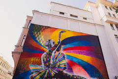 Moscow, Russia, June, 20, 2015. Russian Scene: Maya Plisetskaya on the Big Dmitrovka by Brazilian artist Eduardo Kobra in Dmitrovk Royalty Free Stock Photos