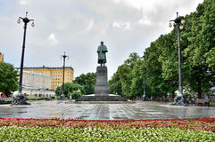 Moscow, Russia, June, 12,2014. Russian scene: Nobody, Gogol Boulevard in the rain Stock Photos