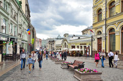 Moscow, Russia, June,  12, 2014. Russian scene: People walking on Kuznetsky bridge street Stock Photo