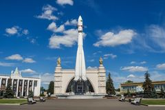 Moscow, Russia - June 24, 2019: Russian spaceship Vostok 1, monument of the first soviet rocket at VDNH. astronautics in USSR,. History of Gagarin`s flight stock photos