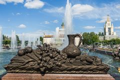 Moscow, Russia - June 24, 2019: Sculptural fountains in the Park of VDNH in Moscow.  stock image