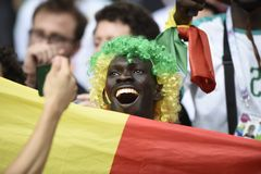 WORLD CUP 2018. MOSCOW, RUSSIA - June 19, 2018: Senegal celebrates after scoring a goal during the World Cup Group H game between Poland and Senegal at Spartak Royalty Free Stock Images