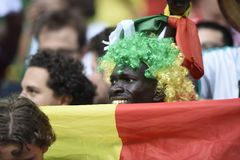 WORLD CUP 2018. MOSCOW, RUSSIA - June 19, 2018: Senegal celebrates after scoring a goal during the World Cup Group H game between Poland and Senegal at Spartak Stock Photography
