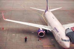 MOSCOW, RUSSIA, June 2016 - Sheremetievo International airport, preparing for takeoff. stock photography