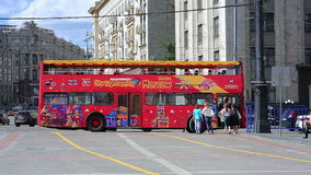 MOSCOW, RUSSIA - JUNE 2013: sightseeing bus in the city Stock Photo