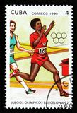 The `Olympic Games, Barcelona 1992 ` issue shows Running, circa 1990 Royalty Free Stock Photos