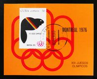 Cuba, series devoted to the Montreal Games 1976, circa 1976 Stock Photos