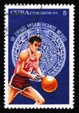 Basketball player, devoted to 7th american youth games in Mexico, circa 1975 Royalty Free Stock Images