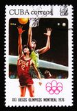 Cuba shows basketball players, series devoted to the 21th Olympic games in Montreal, 1976, circa 1976 Stock Images