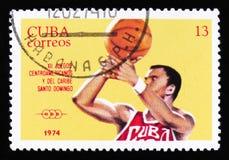 Basketball, series 12th Central American and Caribbean Games, Santo Domingo, circa 1974 Stock Photography