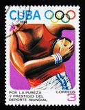 Cuba shows Disk thrower, 23th Summer Olympic Games, Los Anbgeles 1984, USA, circa 1984. MOSCOW, RUSSIA - JUNE 26, 2017: A stamp printed in Cuba shows Disk Royalty Free Stock Images