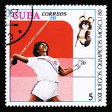 Cuba shows Javelin, Summer Olympic games in Moscow, circa 1980 Royalty Free Stock Photos