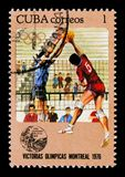Volleyball players, series devoted to the Montreal Games 1976, circa 1976 Royalty Free Stock Image