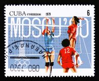 Cuba shows Volleyball players, Summer olympic games in Moscow 1980, circa 1979 Stock Photography