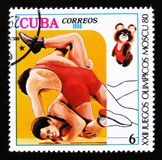 Cuba shows Wrestling, Olympic Games in Moscow 1980, circa 1980 Stock Image