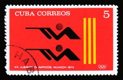 Cuba with a Shutting, from the series XX Summer Olympic Games, Munich, 1972, circa 1973. MOSCOW, RUSSIA - JUNE 26, 2017: A stamp printed in Cuba with a Shutting royalty free stock photo