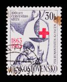 MOSCOW, RUSSIA - JUNE 20, 2017: A stamp printed in Czechoslovaki. A shows child and the Red Cross, series, circa 1963 Royalty Free Stock Photos