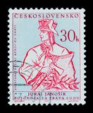 MOSCOW, RUSSIA - JUNE 20, 2017: A stamp printed in Czechoslovakia shows fighter for human rights Juraj Janosik, 250 anniv. of dea. Th, circa 1963 stock photos