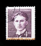 MOSCOW, RUSSIA - JUNE 20, 2017: A stamp printed in Czechoslovakia shows portrait of poet Jiri Wolker, circa 1949 royalty free stock image