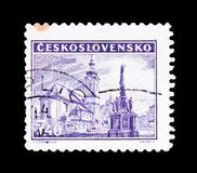 MOSCOW, RUSSIA - JUNE 20, 2017: A stamp printed in Czechoslovaki. A shows Hodonin square, circa 1946 Royalty Free Stock Photo