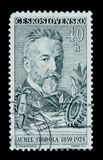 Czechoslovakia postage stamp shows portrait of Aurel Stodola, the Slovakian engineer, physicist and inventor, series, circa 1959 Stock Image