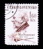 MOSCOW, RUSSIA - JUNE 20, 2017: A stamp printed in Czechoslovaki. A shows portrait of Max Svabinsky, painter, draughtsman, graphic artist, circa 1963 Royalty Free Stock Photography