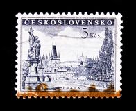 MOSCOW, RUSSIA - JUNE 20, 2017: A stamp printed in Czechoslovakia shows Prague - Charles Bridge, statue of Saint Luitgard by Matt. Hias Braun and Prague Castle stock photo
