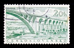 MOSCOW, RUSSIA - JUNE 20, 2017: A stamp printed in Czechoslovakia shows railroad bridge, circa 1955 stock photography