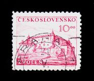 MOSCOW, RUSSIA - JUNE 20, 2017: A stamp printed in Czechoslovakia shows Zvolen Castle, circa 1949 royalty free stock photo