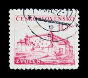 MOSCOW, RUSSIA - JUNE 20, 2017: A stamp printed in Czechoslovakia shows Zvolen Castle, circa 1949 royalty free stock images