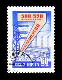 Electricity production and shows Industrial area with plants and towers, circa 1958 Stock Photography