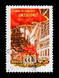 Red flag, electric power station and factory, circa 1960. MOSCOW, RUSSIA - JUNE 26, 2017: A stamp printed in USSR Russia shows Red flag, electric power station Stock Images