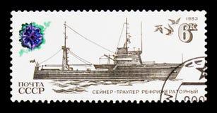 Refrigerated trawler, series `Fishing Vessels`, circa 1983 Royalty Free Stock Photo