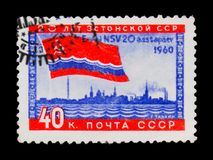 Soviet red flag and sea, 20 years of Estonian republic, circa 1960 Stock Photos