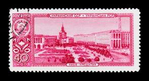 View of Kyiv city, Khreshchatyk street, Ukraine, circa 1958 Royalty Free Stock Photos