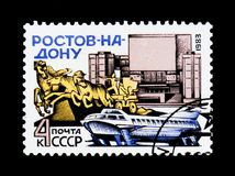 Rostov-on-Don, motorboat, monument and facade building, circa 1983 Royalty Free Stock Image