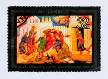 Paint by N. Shishakov `Arrest of propagandist` , series folk arts, circa 1982 Royalty Free Stock Photography