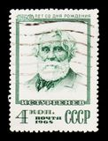 Portrait of Ivan Turgenev - Russian writer, 150th birth anniversary, circa 1968 Stock Image