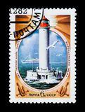 USSR Russia shows Vorontsov lighthouse, Black Sea, Odessa, circa 1982. MOSCOW, RUSSIA - JUNE 26, 2017: A stamp printed in USSR Russia shows Vorontsov lighthouse stock photography
