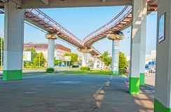 Moscow Monorail, Russia. MOSCOW, RUSSIA - JUNE 29, 2013: Standing under the Teletsentr station of Moscow Monorail, located in Ostankino, on June 29 in Moscow royalty free stock photos
