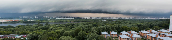 MOSCOW, RUSSIA - 30 June, 2017: Storm in Moscow. Panorama photo. Kapotnya, Moskva Reka, Maryno and Brateevo, outskirts Stock Image