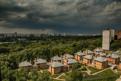 MOSCOW, RUSSIA - 30 June, 2017: Storm in Moscow. Panorama photo. Kapotnya, Moskva Reka, Maryno and Brateevo, outskirts Stock Images
