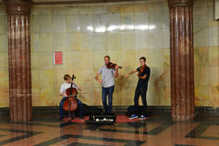 Moscow, Russia - June 03.2016. Street musicians play music in metro Stock Image