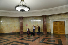 Moscow, Russia - June 03.2016. Street musicians play music in metro Royalty Free Stock Photography
