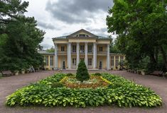 MOSCOW, RUSSIA - June 24, 2018: Summer house of count Orlov in Neskuchny garden in Moscow. Sample of Russian architecture of the. 18th century royalty free stock images