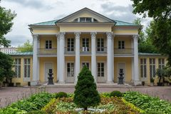 MOSCOW, RUSSIA - June 24, 2018: Summer house of count Orlov in Neskuchny garden in Moscow. Sample of Russian architecture of the. 18th century royalty free stock photography