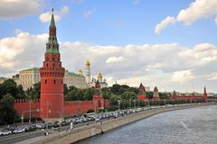 Summer view of Kremlin towers on sunset. MOSCOW, RUSSIA - JUNE 20: Summer view of Kremlin towers on sunset, Moscow on June 20, 2018 stock photo
