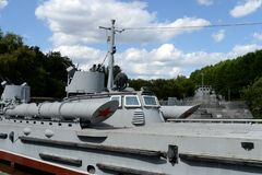 Torpedo boat project 123 bis type `Komsomolets` at the exhibition of the Soviet Navy on Poklonnaya hill in Moscow royalty free stock image