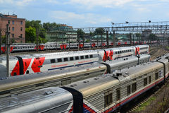 Moscow, Russia - June 03.2016. Trains at access roads to Kursk station Royalty Free Stock Photos
